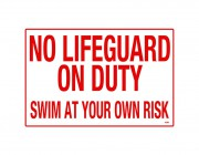 "41389 | 36"" x 24"" South Carolina No Lifeguard Sign"