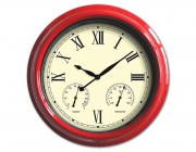"52559 | 18"" Clock, Thermometer and Hygrometer - Red"