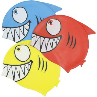 99033 | Smiling Piranha Silicone Swim Cap - 3 Assorted Colors