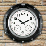 52539 | 18'' Black Porthole Clock - Lifestyle
