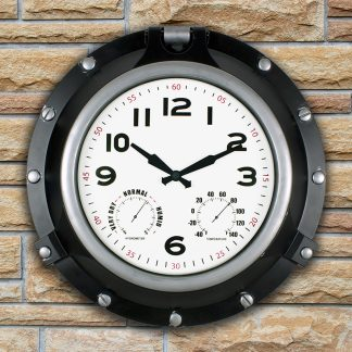 52539 | 18'' Black Porthole Clock - Lifestyle 1
