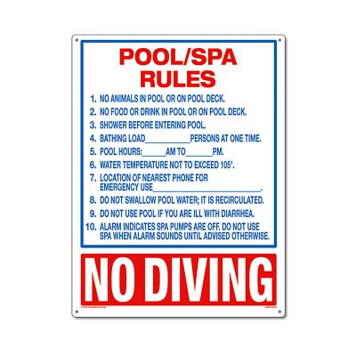 40321 | 18'' x 24'' Pool/Spa Rules