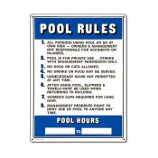 40322   18'' x 24'' Pool Rules Sign