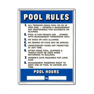 40322 | 18'' x 24'' Pool Rules Sign