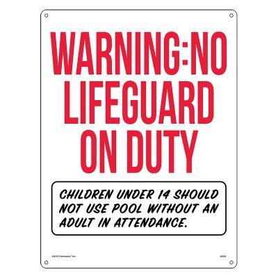 Warning: No Lifeguard on Duty (Oregon Compliant)
