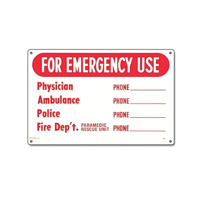 40339 | 12'' x 18'' For Emergency Use Sign