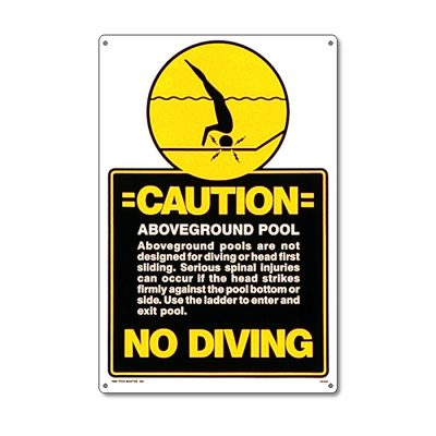 40346 | 12'' x 18'' Caution: No Diving. Above Ground Pool Sign