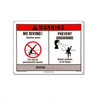 "40350 | 12"" x 18"" Warning! No Diving 