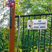 No Glassware in Pool Area Sign