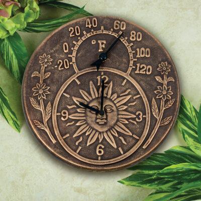 52551 | Terra-Cotta Clock & Thermometer - Lifestyle 1