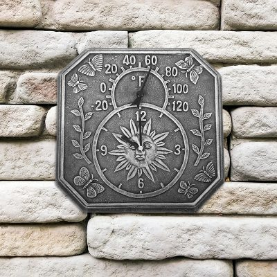 52555 | Terra-Cotta Clock & Thermometer - Lifestyle