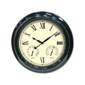 52558   18'' Clock, Thermometer and Hygrometer - Black