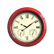 52559   18'' Clock, Thermometer and Hygrometer - Red