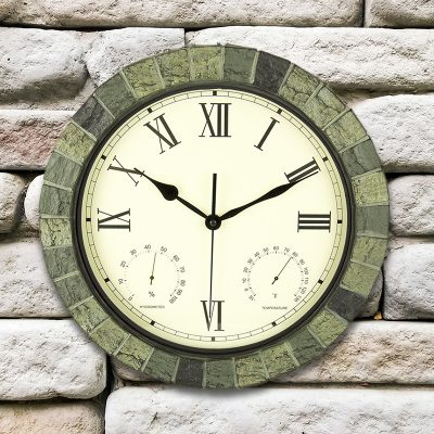 """15"""" Faux Stone Clock, Thermometer and Hygrometer"""