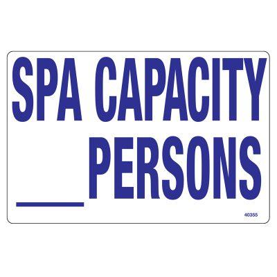 40355 | Spa Capacity Sign