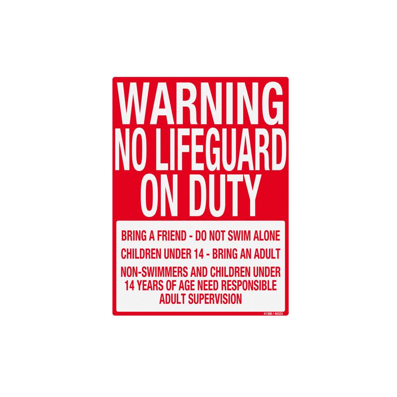 41388 | Warning No Lifeguard - Sign