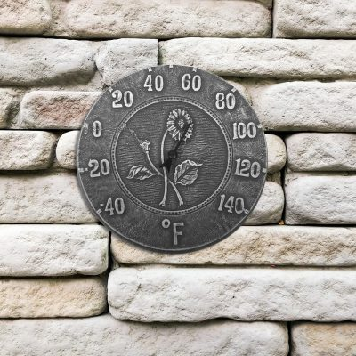 52553 | 12'' Terra Cotta Antique Black Thermometer - Lifestyle
