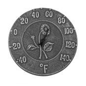 52553 | 12'' Terra Cotta Antique Black Thermometer