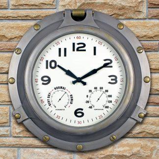52538 | 18'' Silver Porthole Clock - Lifestyle 1
