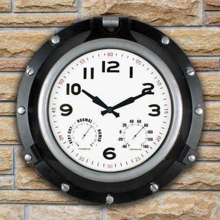 52539 | 18'' Black Porthole Clock - Lifestyle 1