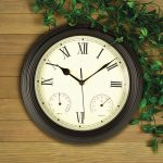 """12"""" Black Clock, Thermometer and Hygrometer"""