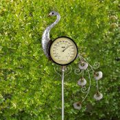 Peacock Thermometer Garden Stake