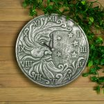 Silver Metallic Terra Cotta Clock